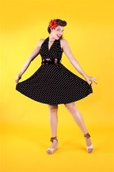 Pin up dresses are a historical style of dresses inspired from the 40's and 50's Hollywood era! Our selection of pin up vintage reproduction dresses come in atomic, solid and retro fabrics! Weather you want pin up dresses with short-sleeves, empire waist or sleeveless, we have it all.