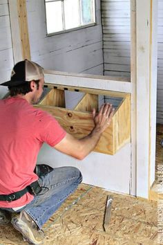 Building nesting boxes for our chicken coop. A classic nesting box design for the modern chicken coop. How to build a better coop using a shed! Best Chicken Coop, Chicken Coop Plans, Building A Chicken Coop, Chicken Runs, Chicken Coops, Small Chicken, Chicken Tractors, Chicken Ideas, Chicken Breeds