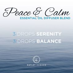 When you need to RELAX, there's nothing better than this Peace & Calm diffuser blend! Serenity has a calming and relaxing aroma that soothes the soul with a blend that's meticulously chosen to lessen feelings of tension, calm emotions, and leave a feeling of peace. Balance creates a sense of well-being and calm with a warm, woody aroma. So this is the perfect blend to create the sense of a safe haven from life's daily stresses! www.hayleyhobson.com