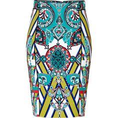ETRO Mixed Print Pencil Skirt ($570) ❤ liked on Polyvore featuring skirts, bottoms, saias, faldas, knee length pencil skirt, pattern skirt, high waisted skirts, high waisted pencil skirt and patterned pencil skirt