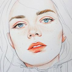 The full process, Blossom. Watercolor Artwork, Watercolor Sketch, Watercolor Portraits, Watercolor Illustration, Realistic Face Drawing, Realistic Paintings, Pencil Drawings, Art Drawings, Pencil Art