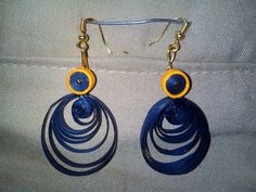 Blue with orange quilled earring