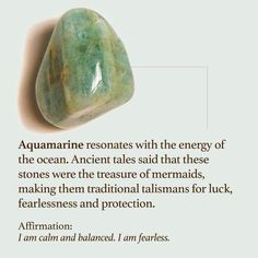 Aquamarine Stone, View the Best Aquamarine Stones from Energy Muse Crystal Magic, Crystal Grid, Crystals And Gemstones, Stones And Crystals, Gem Stones, Crystals For Luck, Les Chakras, Crystal Meanings, Healing Stones