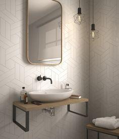 """Chevron Ceramic - White (Matte Finish) 2"""" x 8"""" Ceramic Wall Tile $4.19 per square foot"""