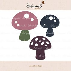 Mushrooms  SVG and DXF Cut Files  for Cricut by SolipandiDesigns