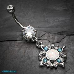 Sparkle Opal Vintage Sun Belly Button Ring
