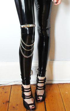 black high heels, fetish, feet, rubber leggins