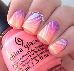Try in blues - Pinky-Peach-Lilac Gradient Nail-art by #aubrayhannah♥•♥•♥Love ♥