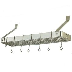"""36.25 x 9 x 12 Satin Nickel Bookshelf Rack with Grid 12 Hooks - Satin Nickel """"Bookshelf"""" Pot Rack. Professional style storage for any kitchen. Includes grid, 12 hooks, mounting hardware. Made of Heavy Gauge Steel, the Satin Nickel Finish is lacquered for easy maintenance. Assembly required. 36¼""""Wx9""""Dx12""""H. At Home > Kitchenware > Kitchen Racks. Weight: 22.00"""