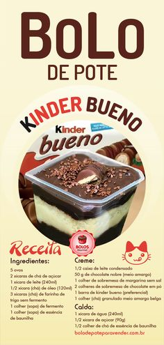 Kinder Bueno Pot Cake Recipe Step by Step - Gourmet Course, Cake Recipes Step By Step, Food Porn, Dessert Boxes, Food Wishes, Yummy Food, Tasty, Oreo, Mousse, Sweets Recipes
