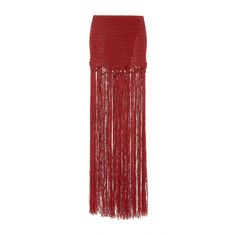 Jaline     Daniela Fringed Skirt ($325) ❤ liked on Polyvore featuring skirts, red, floor length skirts, long ankle length skirts, long fringe skirt, long red skirt and long skirts