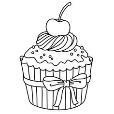 Crayola giant coloring pages hello kitty ~ A Delicious Cupcake Coloring Pages - Cookie Coloring Pages ...
