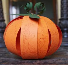 Paper pumpkin - brads no glue, white sparkly paper NATO How to Make an Easy Paper Pumpkin