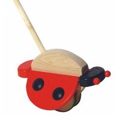 Bajo 22110 - Biedronka Zabawka z Drewna na Patyku do Pchania dla dzieci od 1,5 roku, z ruchomymi skrzydełkami. Zabawka wykonana z drewna bukowego, solidnie wykończona, pomalowana farbami bezpiecznymi. Czy spełnia europejskie normy bezpieczeństwa ? Sprawdź, dostępne ostatnie kilka sztuk:)