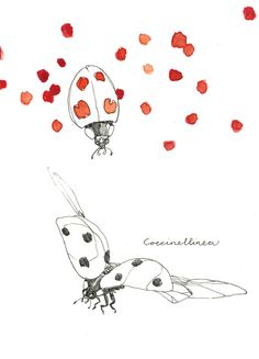 dot dot    dot      dot dot      dot lieveheersbeestjes / ladybugs pen and watercolor by Maartje van den Noort