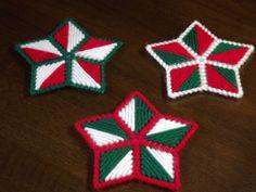 Plastic Canvas Christmas Stars Set of three by fuzzypixelcrafts