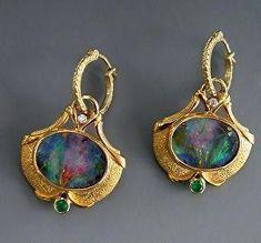 Gold, Boulder Opal Split, Emerald and Diamond Earrings by Athenae Inc ~ xUnusual shape setting Opal Earrings, Opal Jewelry, Gold Jewelry, Fine Jewelry, Gold Bracelets, Diamond Jewelry, Jewellery Box, Diy Earrings, Emerald Jewelry