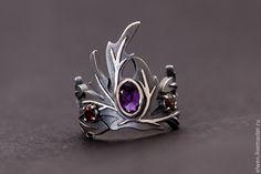 """Купить Кольцо """"Корона из полыни"""" с 3мя камнями - серебряный, кольцо, кольцо ручной работы"""