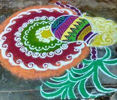 Pongal Rangoli 2018 Rangoli Designs Flower, Rangoli Patterns, Small Rangoli Design, Rangoli Ideas, Colorful Rangoli Designs, Rangoli Designs Diwali, Rangoli Designs Images, Beautiful Rangoli Designs, Simple Rangoli