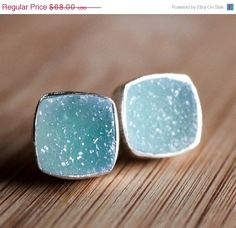 Turquoise Blue Druzy Stud Earrings
