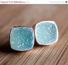 WINTER SALE Turquoise Blue Druzy Stud Earrings  Ice Blue by OhKuol