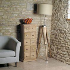 baumhaus mobel oak multi drawer cd and dvd storage chest