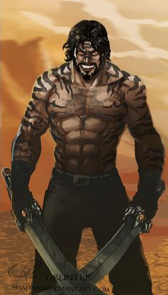 Gruntle by. Tiger style barbarian with broad swords Shadaan.deviantart.com on @DeviantArt