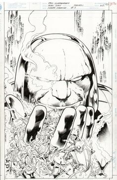 This is the original pencils and inks for the cover for Genesis #3, drawn by Alan Davis.
