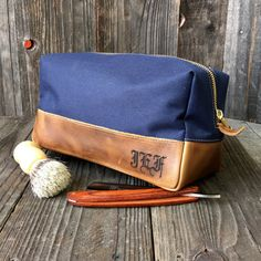 f27cfe04ab7f Personalized Dopp Kit - Mens Toiletry Bag - Groomsmen Gift - Leather Dopp  Kit - Navy   Brown