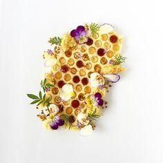 Apricot Honeycomb Panna Cotta- Toasted Honey Marshmallow, Honey Sponge Cake, Honey Vinegar, Bee Pollen, Viola Flowers, Lavender Chamomile & Sweet Cicely