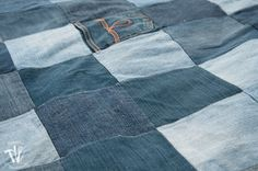 She cuts up old jeans 121 squares. Now watch what she does with a shower curtain. GENIUS backyard idea!