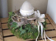 Ostertischdeko - Kranz * Nest mit Ei * shabby-look * - ein Designerstück von KRANZundCo bei DaWanda