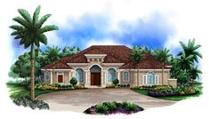 House Plan 60416 - Florida, Mediterranean Style House Plan with 3895 Sq Ft, 4 Bed, 5 Bath, 3 Car Garage Coastal House Plans, New House Plans, Dream House Plans, House Floor Plans, Dream Houses, Florida House Plans, Modern Mediterranean Homes, Mediterranean Architecture, Modern Homes