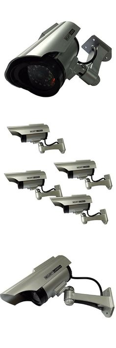 Henxlco 4Pack Dummy Solar Security Camera Fake Flashing Light Infrared LED CCTV Surveillance.