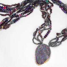 Orlando Dugi (Navajo).Brazilian Druzy Necklace. Native American artist. #nativeamerican