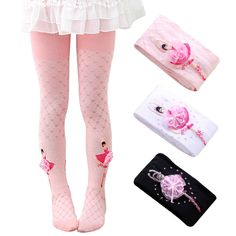 Pack of 3 Country Kids Girls Butterfly Pattern Leggings Footless Tights