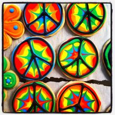 Tie-dyed peace sign cookies! Love these for Rylie! @Lindsay Strausbaugh