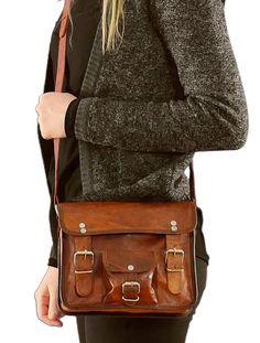 """Small Leather Shoulder Bag Gusti Leder nature """"Emilia 7"""" Satchel Handmade Handbag 7 Inch Vintage Style Unisex Brown H3"""