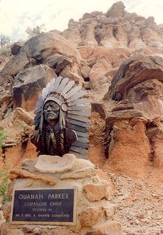 Memorial in Palo Duro Canyon, Texas for Comanche Chief Quanah Parker, son of captured Cynthia Parker & her indian captor. Gotta see this! Texas Roadtrip, Texas Travel, Texas Parks, State Parks, Quanah Parker, Texas Bucket List, Loving Texas, Texas History, Family History