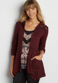 waffle knit cardigan with crochet   maurices