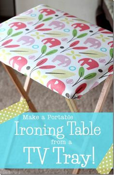 Crafty Cupboard DIY Portable Ironing Table I think I have this tv tray ironing board somewhere Sewing Hacks, Sewing Tutorials, Sewing Crafts, Sewing Projects, Diy Projects, Diy Crafts, Sewing Ideas, Sewing Tips, Weekend Projects