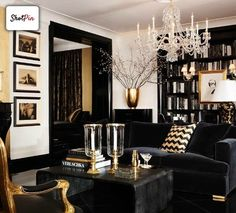 black and navy interior with touches of gold