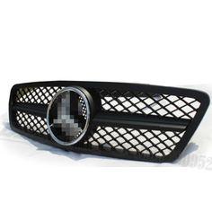 ABS Mercedes W203 Bumper Hood Grill Grille for 00 06 Mercedes Benz Sedan C180 C200 C220 C240 C270 C280 C320 C350 Matte Black