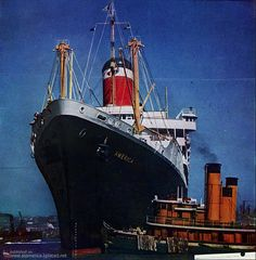 United States Lines AMERICA departs New York, postwar