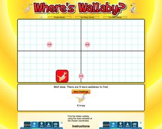 Where's Wallaby?  Guess where the wallaby may be hiding and then type in the coordinates of that point. If you are not correct you will be shown how far your guess is from the wallaby's hiding place.  The units used are the length of one side on one of the squares in the grid above.  Your challenge is to find all ten wallabies in the smallest number of tries. Fun Math Games, Australian Curriculum, Hiding Places, One Sided, Math Resources, Mathematics, Squares, Grid, Challenges