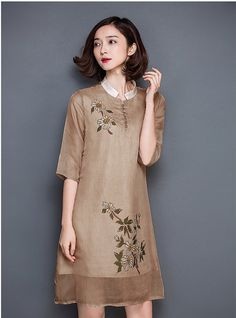 Shanshui Floral printed silk dress modified Chinese by Chicatory