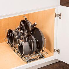Small Kitchen Organization, Kitchen Storage Solutions, Diy Kitchen Storage, Pan Organization, Kitchen Appliance Storage, Organized Kitchen, Organizing Small Kitchens, Kitchen Organizers, Medicine Organization