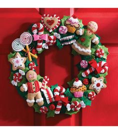 Bucilla Cookies & Candy Wreath Felt Applique Kit, , hi-res