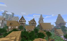 Medieval Village - I like the Germanic details on the house, larger second floor, light and dark contrast