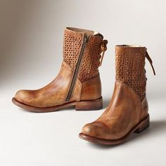 BRIDGEWATER BOOTS - Diamond cutouts, rawhide lacing and beat back, burnished leather add spirit and style to these BedStü boots. Each pair is unique.